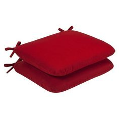 Pillow Perfect Outdoor Red Solid Seat Cushion Rounded, 2-Pack by Pillow Perfect. $52.99. Sewn seam closure, attaches with ties. 100-Percent polyester. Spot clean only. 100-Percent polyester fiber. Fade resistant, mildew resistant, uv protection, water resistant, weather resistant. 100% Polyester. Outdoor red solid seat cushion, 2-pack