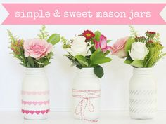 Create a beautiful centerpiece or mantel decoration by adding embellishments to three painted Mason jars. Blogger Courtney used felt ribbon, baker's twine, and washi tape.  Get the tutorial at A Thoughtful Place. Courtesy of  - Redbook.com