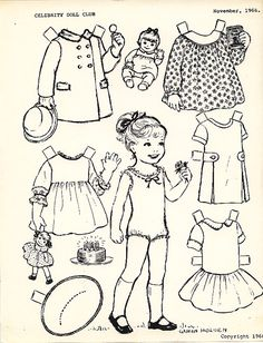 I love to color my black and white paper dolls. The color brings the paper doll set to life. I got this from a free bee table at one of the paper doll conventions years ago. Colouring Pages, Coloring Books, Paper Art, Paper Crafts, Paper Doll House, Paper Dolls Printable, Vintage Paper Dolls, Antique Dolls, To Color