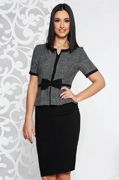 59724aa586db StarShinerS black office midi pencil dress from non elastic fabric with  frilled waist Black Office,