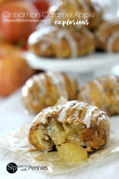 Cinnamon Caramel Apple Pie Rolls! A cinnamon sugar crusted roll filled with warm apple pie filling & drizzled with caramel. These take just minutes to make