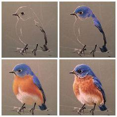 """Этапы работы над птичкой. Не забудьте написать под выполненным заданием """"Выполнила #веснариум_задание2 в команде #веснариум_пастель. Марафон #веснариум с @tsusketch, @krasniy_karandash и @artlife_moscow"""" Следующая тема через неделю"""