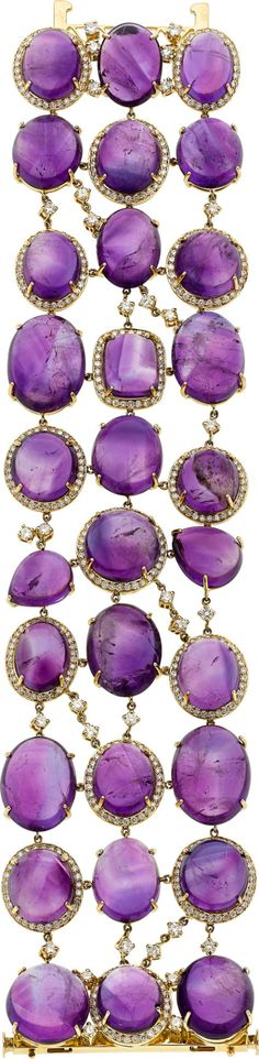Amethyst, Diamond, and Gold Bracelet features round, pear, cushion and oval-shaped amethyst cabochons weighing a total of 274.20 carats, enhanced by full-cut diamonds weighing a total of 6.03 carats, set in 18k gold. Gross weight 107.00 grams.