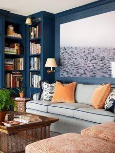 Navy shelving; oversized photo; sofa