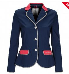 The Cavallino Marino Verona is a luxury fitted riding coat for ladies. The flap pockets and collar are in a contrasting colour. There is a Cavallino Marino embroidery on the left flap pockets.