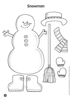 Dress the snowman.    This activity suggests that the teacher cut out the pieces and glue on magnetic tape to allow students to dress the snowman.  I suggest that each student practice their cutting by giving each student a copy of the handout and let them do their own cutting and pasting to dress the snowman after coloring it.