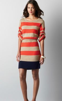 Colorblock Roll Sleeve Sweater Dress