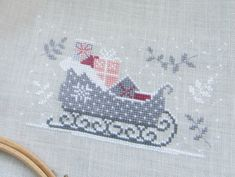 Christmas sleigh cross stitch.