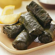 Stuffed Grape Leaves: cup uncooked rice tsp salt 1 jarred Grape Leaves 2 tsp Olive Oil 2 tbs Pine Nuts 5 medium uncooked Shallots cup dried Currants cup fresh Parsley 1 tbs Mint or Dill tsp Black Pepper Good Healthy Recipes, Ww Recipes, Greek Recipes, Healthy Foods To Eat, Healthy Eating, Amazing Recipes, Vegetarian Recipes, Grape Leaves Recipe, Kitchens
