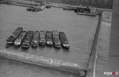 preparations for Operation Sealion: In the Pas-de-Calais, close to Cap Gris-Nez, a group of barges before modification to landing craft.