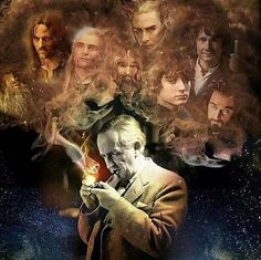 THIS IS AMAZING. TOLKIEN LIGHTING HIS PIPE AND IN THE SMOKE IS ALL THE LOTR AND HOBBIT CHARACTERS DONT MAKE ME CRY