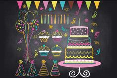 Chalkboard Birthday Party Clip Art by SA ClipArt on Creative Market