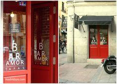Bar AMOR? a la vuelta de la esquina de Manuela Malasaña, 22 con Monteleón descubrimos el Bar Amor. Esa fachada rojo pasión y ese nombre atraen por sí solos.