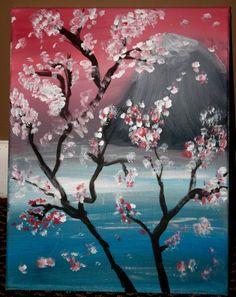 Japanese Cherry Blossom Scene Acrylic by smARTartBYMcSwish on Etsy