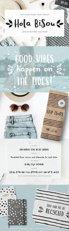 Hola Bisou Font - fun cute and inky by By Lef on @creativemarket