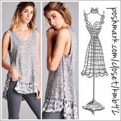 """Lilac Grey V Neck Ruffle Hem Top Heather grey v-neck knit top with ruffle hem detail and side slits.   Size S, M, L   **add a lace extender for a really cute look**  Measurements  Small  Length: 27""""/30"""" (front/back length) Bust: 34""""  Medium Length: 27""""/30"""" Bust: 36""""  Large Length: 27""""/30"""" Bust: 40""""  Item #011 Threads & Trends Tops"""