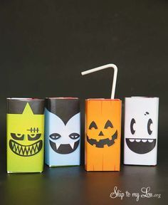 Free printable halloween juice box covers- pumpkin, Frankenstein, ghost, and vampire. Perfect for a class party!