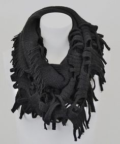 Take a look at this Black Ragged Tassel Infinity Scarf by Leto Collection on #zulily today!