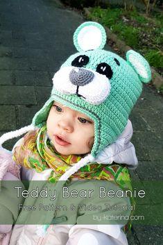 f264a9fea7f Teddy Bear Beanie Free Pattern. Crochet TeddyCrochet Kids HatsCrochet Baby  ...