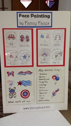 Fancy Faces of Rochester: 4th of July Face Painting Menu Board