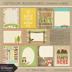 Outdoor Adventures Journal Cards Kit   pocket cards, journal cards, project life, printable, scrapbooking, digital scrapbooking,
