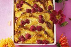 White chocolate and raspberry brioche pudding