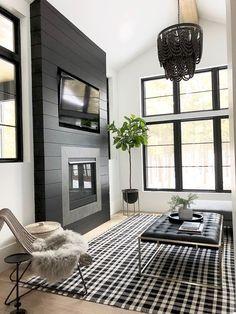 Shiplap Fireplace, Home Fireplace, Fireplace Remodel, Living Room With Fireplace, Fireplace Design, Fireplace Ideas, Black Fireplace Surround, Farmhouse Fireplace, Basement Fireplace