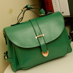 $10.99Fashion Solid Hasp Green Leather Messenger