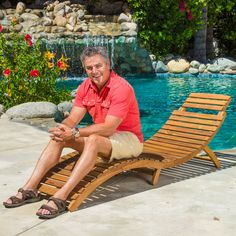 Relax on the patio or around the pool in style on this Lahaina natural wood chaise lounge that easily folds for storage or travel. Its unique curved design makes it a beautiful addition to your backyard whether or not you add a cushion.