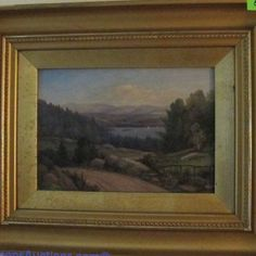 """Daniel Bigelow (1823 - 1910) landscape oil painting on canvas, signed lower left ; frame measures 13 x 16"""". Bids close Wed, 31 Aug from 11am ET. http://bid.cannonsauctions.com/cgi-bin/mnlist.cgi?redbird50/560/1"""