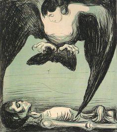 "Edvard Munch  ""Arpia"" - 1899 (Litografia a colori, Munch Museet - Oslo)"