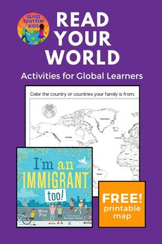 I'm an Immigrant too! is a celebration of the cultural diversity in Australia (where this book is published as I'm an Australian too!). This timely book is a great way to teach kids about multiculturalism, community, and compassion. Free printable activities include a#WorldMapfor students to show where their families are originally from and a#BiographyOrganizerfor an #AuthorStudy. #ImAnImmigrantToo#ImAustralianToo#MemFox #Australia#multiculturalism#KidLit#ReadYourWorld #LitActivities Geography For Kids, World Geography, Australia For Kids, Multicultural Classroom, Harmony Day, Author Studies, Cultural Diversity, Teaching Kids, Activities