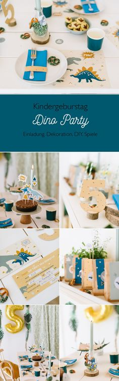 Decoration and games for the dinosaur children's birthday – Miss K. Says Yes - Kinderspiele Partys, Diy For Kids, Kids Room, Happy Birthday, Nursery, Place Card Holders, Snacks, Table Decorations, Children