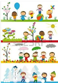 Kids in four season Vinyl Wall Mural - Seasons Toddler Crafts, Preschool Activities, Preschool Printables, Weather For Kids, Seasons Activities, School Murals, School Painting, Magazines For Kids, Fathers Day Crafts