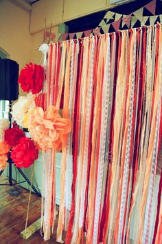 A Colorful DIY Handfasting Village Hall Wedding - Photowall Ideas Ribbon Backdrop, Ribbon Wall, Diy Backdrop, Paper Flower Backdrop, Photo Booth Backdrop, Paper Flowers Diy, Party Backdrops, Photo Booths, Diy Paper
