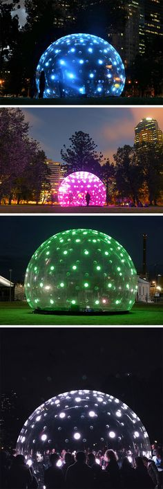 """Sonic Light Bubble is a living, breathing interactive installation that responds with light and sound when approached and touched. This giant synthetic """"organism"""" attempts to humanize lighting-based public art and attracts passers by to engage and interact with it. This is a six meter diameter, clear, inflatable structure, dotted with an array of addressable LED disks shining inside and out."""