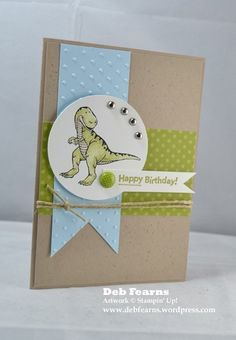 Happy Birthday by Debbbbbbie - Cards and Paper Crafts at Splitcoaststampers Bday Cards, Kids Birthday Cards, Boy Birthday, Happy Birthday, Dinosaur Cards, Animal Cards, Dinosaur Birthday, Creative Cards, Kids Cards