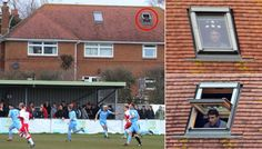Poole Town boss watches match from nearby skylight due to stadium ban!