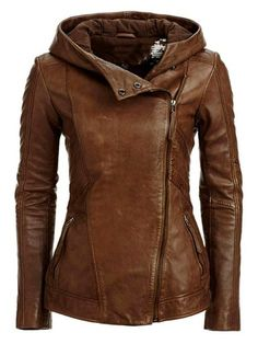 Brown Leather Hooded Jacket - apparently $445! nuts!! but its so awesome