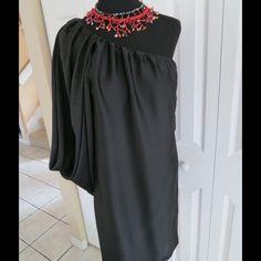 Zara Black Dress Beautiful one shoulder Zara Dress. Polyester, never worn! Zara Dresses One Shoulder