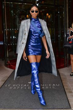 Fashion fan blog from industry supermodels: CHANEL IMAN Leaves Her Hotel in Paris 2017