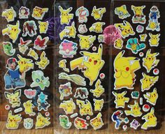 Anime Pokemon Stickers Pikachu Pocket Monster Scrapbooking Sticker Sheet Pocket