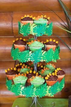 Cupcakes from a Dinosaur 5th Birthday Party via Kara's Party Ideas | karaspartyideas.com