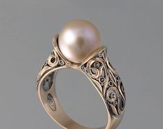 TWO BEAUTIES silver & 14k gold Pink Pearl ring by WingedLion
