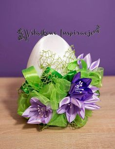 Coconut Decoration, Paste, Faberge Eggs, Ribbon Art, Egg Decorating, Flower Making, Easter Eggs, Projects To Try, Delicate