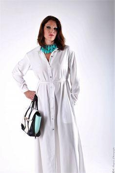 Robe chemise blanche en soie