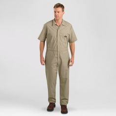 Dickies Men's Big & Tall Short Sleeve Coverall- Khaki (Green) 4XL Tall