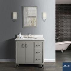 "Revival 36"" Bathroom Vanity in Glossy Medium Gray | Starting at $1,350 | #bathroomvanity #vanities #vanity #bathroomvanities"