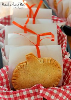 Adorable Pumpkin Hand Pies by joandsue.blogspot.com  thinking apple shapes for apple pies and maybe small cut outs for chocolate or lemon or...
