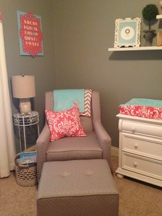 Such Aaron cute nursery! Love this. Project Nursery - Modern Gray Glider and Ottoman with Coral Accent Pillow